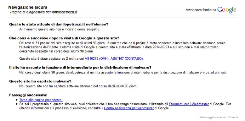 pagina diagnostica di google danilo petrozzi