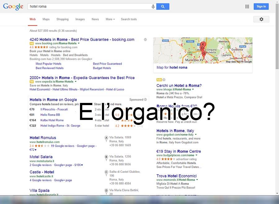 serp senza risultati organici di google
