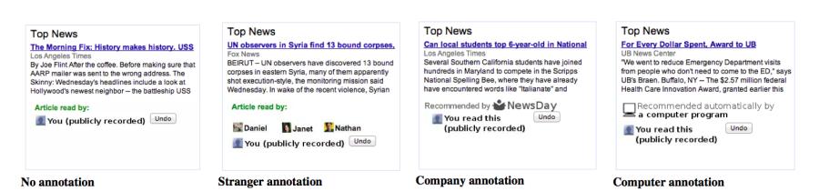 notazioni nei box news di Google esperimento